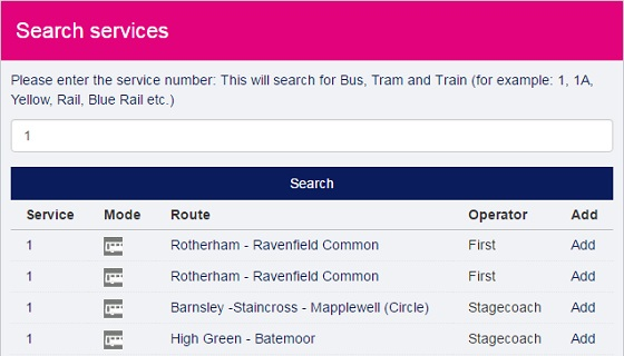 Search for your service timetable