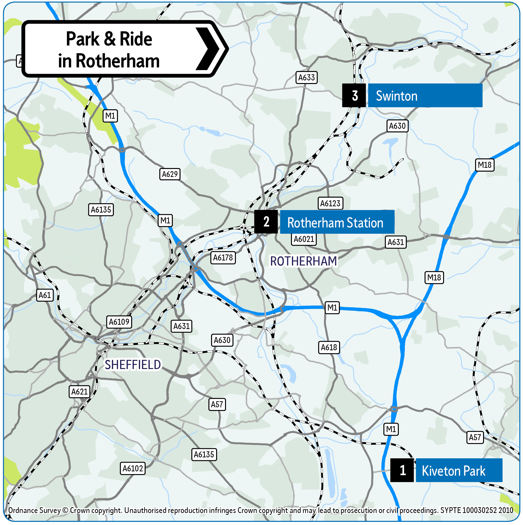 Rotherham Park and Ride location map