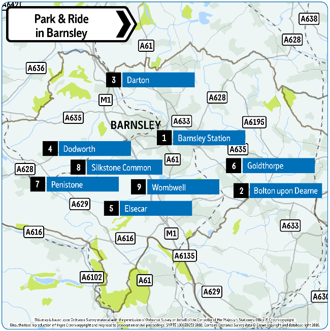 Barnsley Park and Ride locations 2019