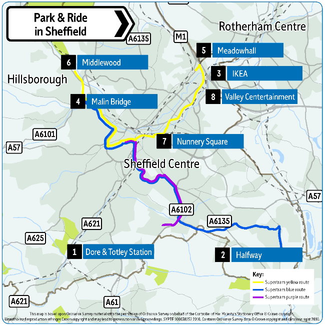Sheffield Park and Ride locations 2019