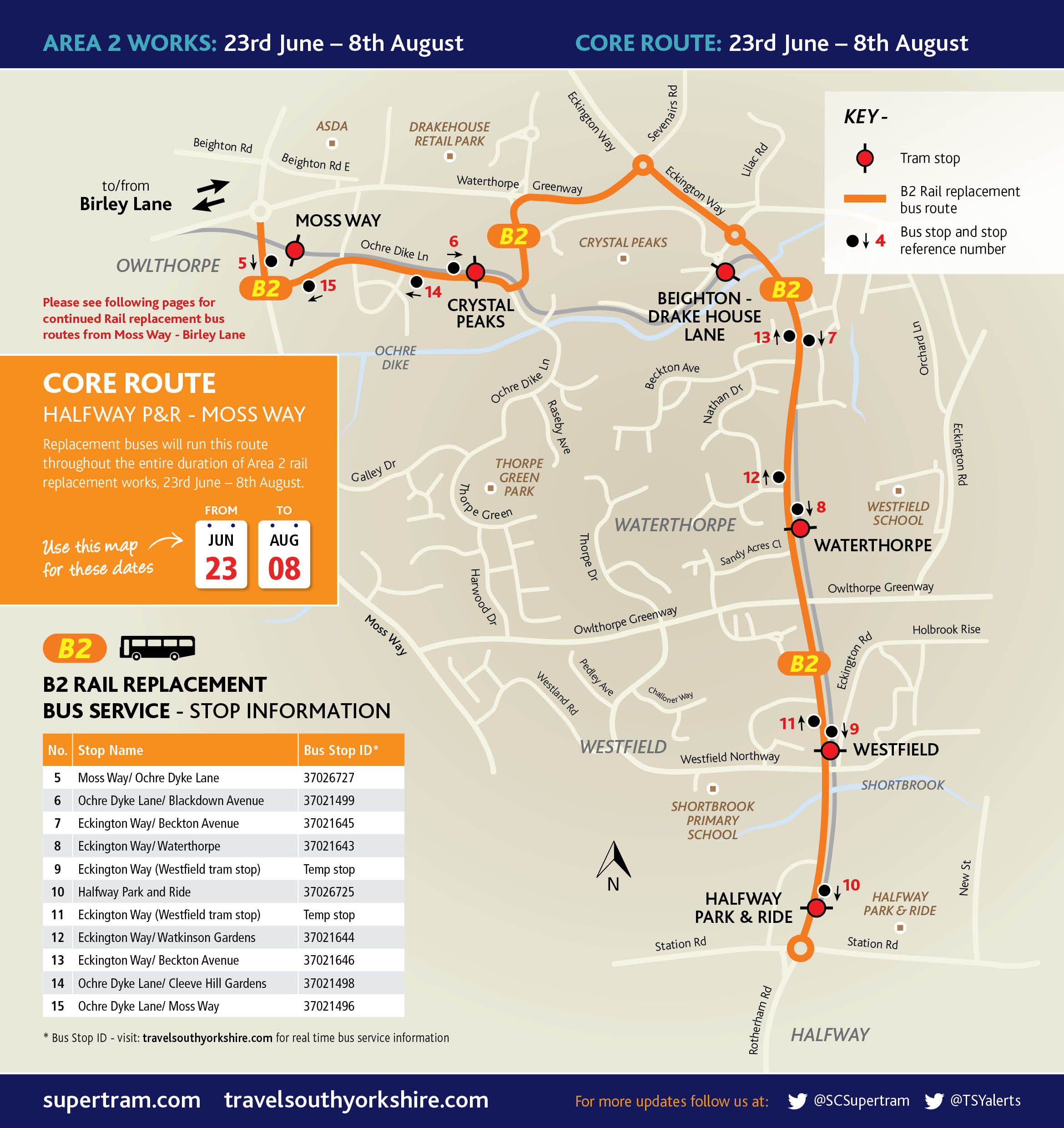 Area 2 Core Route: Halfway Park and Ride to Moss Way